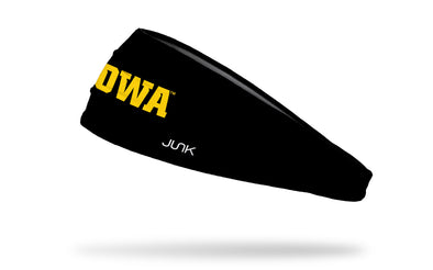 black headband with University of Iowa Iowa wordmark in gold