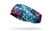colorful ear warmer with pink red blue yellow geometric design