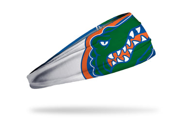 white and blue headband with University of Florida oversized gator mascot in green orange and blue