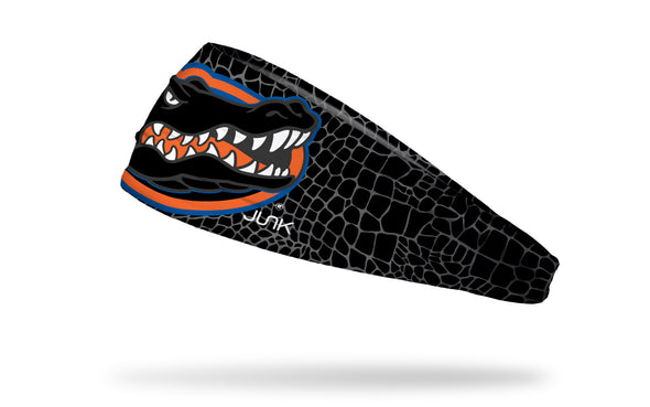 black and grey gator skin print headband with University of Florida gator logo in black white orange and blue