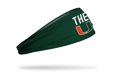 green headband with University of Miami THE U logo in white orange and green