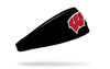 black headband with University of Wisconsin W logo in red and white