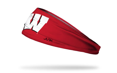 red headband with University of Wisconsin W logo in white and black