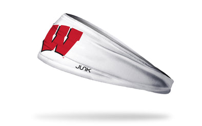 white headband with University of Wisconsin W logo in red and black