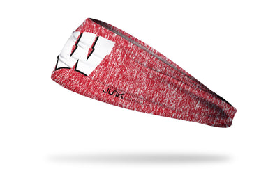 red and white heathered headband with University of Wisconsin W logo in white and black
