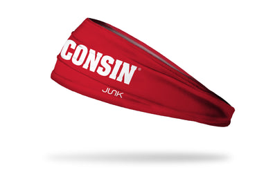 red headband with University of Wisconsin Wisconsin wordmark in white