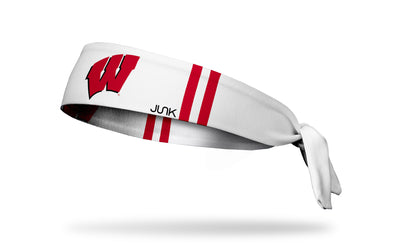white headband with red varsity stripes and University of Wisconsin W logo in red and black