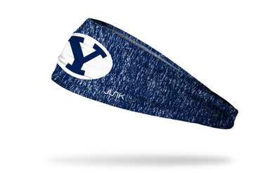 navy and white heathered headband with Brigham Young University Y logo in navy and white