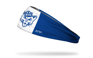 blue and white headband with Brigham Young University classic sailor cougar logo in royal blue