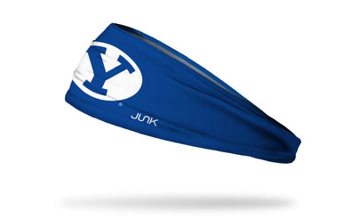 royal blue headband with Brigham Young University Y logo in white