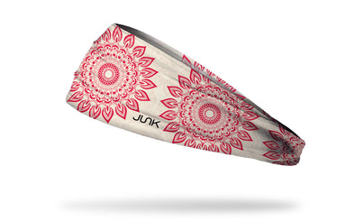 cream white JUNK headband with oversized repeating red mandala design