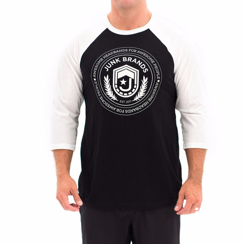 White and Black Crest Raglan Tee, JUNK Athletic Tee
