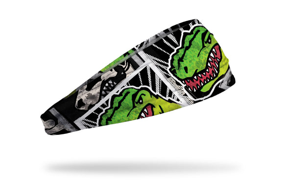 black and white dinosaur themed headband with bright green t-rex focus