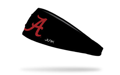 black headband with University of Alabama A logo in crimson red