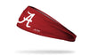 crimson red headband with University of Alabama A logo in white