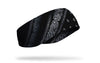 right side view black and white distressed paisley bandana print JUNK ear warmer