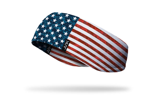 left side view of distressed american flag red white and blue printed JUNK ear warmer