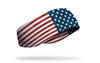 right side view of distressed american flag red white and blue printed JUNK ear warmer