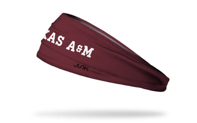 maroon headband with Texas A&M University Texas A&M wordmark in white