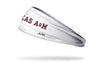 white headband with Texas A&M University Texas A&M wordmark in maroon