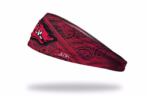 red and black bandana print headband with University of Arkansas Razorback logo in full color