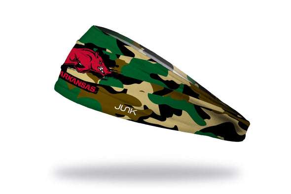 generic camo print headband with University of Arkansas Razorback logo in full color over Arkansas wordmark in red