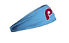 light blue headband with Philadelphia Phillies 80's classic P logo in maroon
