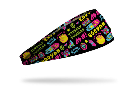 90's themed repeating pattern of chill pill furby sayings headband