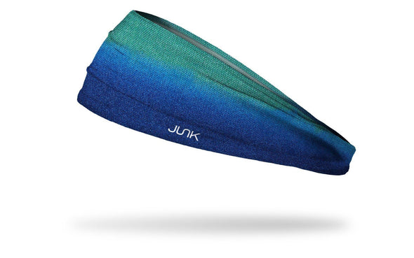 headband with teal green to aqua blue texturized gradient design
