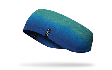 ear warmer with teal green to aqua blue texturized gradient design