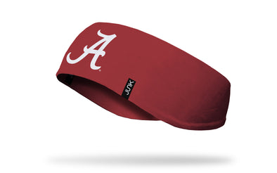 crimson red ear warmer with University of Alabama A logo in white