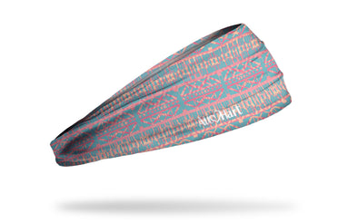 turquoise blue headband with hot pink aztec tribal print and All Hart logo on right side
