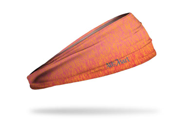 orange to pink gradient headband blended with heathering with All Hart logo on right side