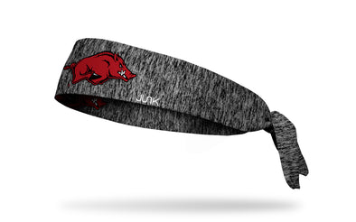black and grey heathered headband with University of Arkansas Razorback logo in red black and white