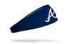 navy blue headband with Atlanta Braves script A logo in white