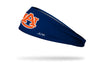 navy headband with Auburn University A U logo in orange and white
