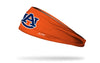 orange headband with Auburn University A U logo in navy and white