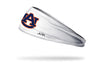 white headband with Auburn University A U logo in orange and navy