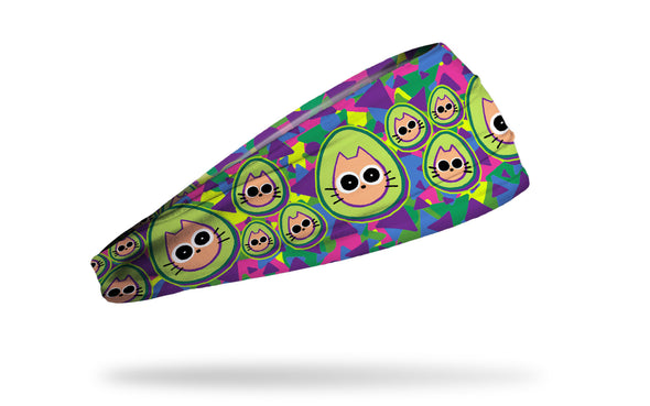 brightly colored headband with repeating pattern of cats dressed like avocados