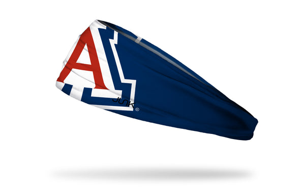 navy headband with University of Arizona oversized A logo in white and cardinal