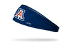 navy headband with University of Arizona A logo in white navy and cardinal