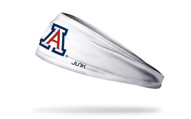 white headband with University of Arizona A logo in cardinal and navy