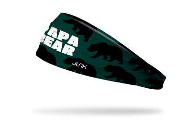 green headband with repeating pattern of dark green bears and Papa Bear wordmark in white