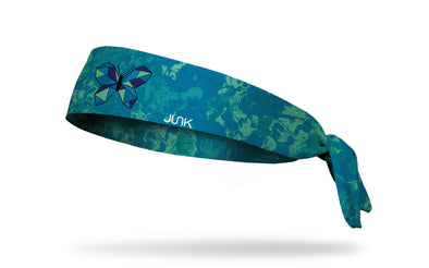 blue watercolor print headband with geometric butterfly in center