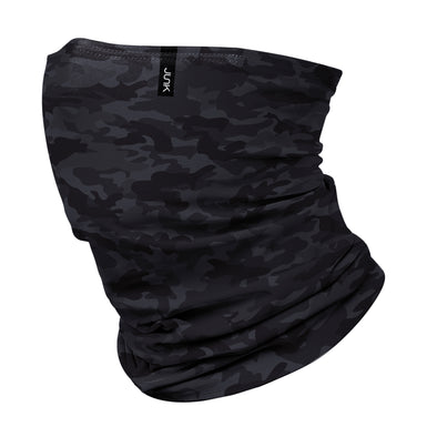 left side view of monotone grey and black camo JUNK winter neck gaiter