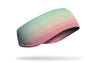 colorful pastel ear warmer in blue green orange and pink painted gradient