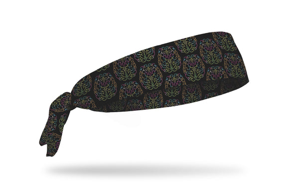 black medical themed headband with brain outline with multicolor brain waves