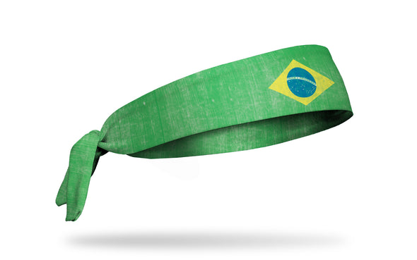 headband with traditional Brazil flag design with grunge overlay