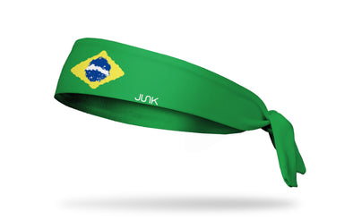 headband with traditional Brazil flag design made to look like it has been painted
