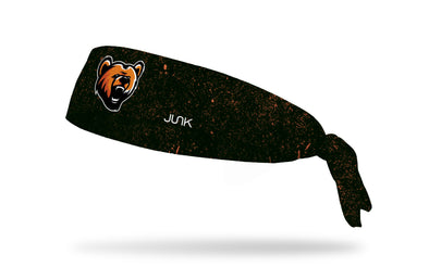 black headband with grunge overlay and generic bear mascot in full color